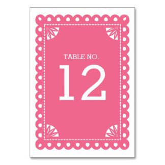 Papel Picado Table Number - Pink Card
