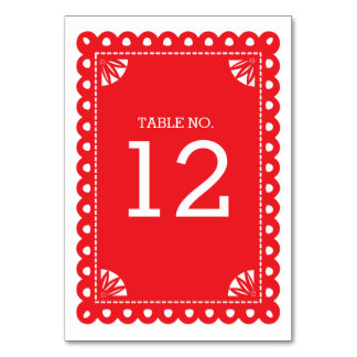 Papel Picado Table Number - Red Card