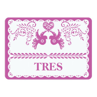 Papel Picado Tres Three Table Number Gold Fiesta Card