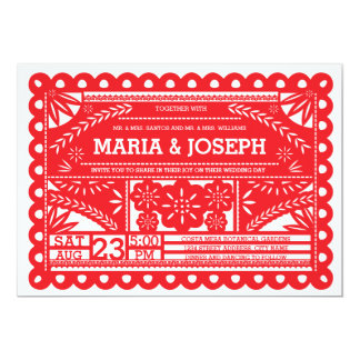 "Papel Picado Wedding Invite - Red 5"" X 7"" Invitation Card"