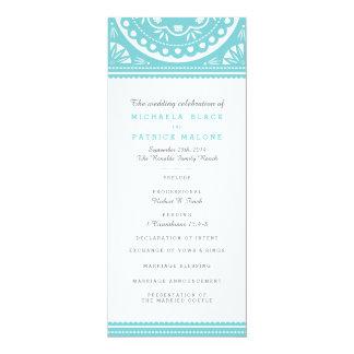 Papel Picado Wedding Program - Blue Custom Invitation