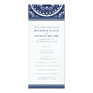 Papel Picado Wedding Program - Navy
