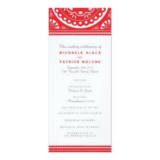 "Papel Picado Wedding Program - Red 4"" X 9.25"" Invitation Card"