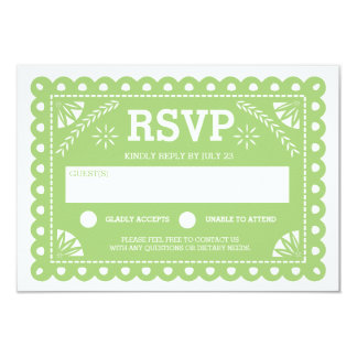 Papel Picado Wedding RSVP Green Personalized Invitations