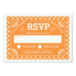 Papel Picado Wedding RSVP Orange Card