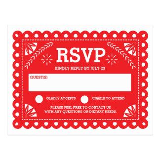 Papel Picado Wedding RSVP Postcard