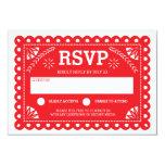 Papel Picado Wedding RSVP Red 3.5x5 Paper Invitation Card