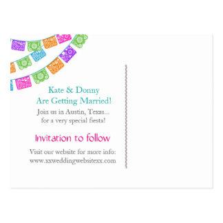 Papel Picado Wedding Save the Date postcard