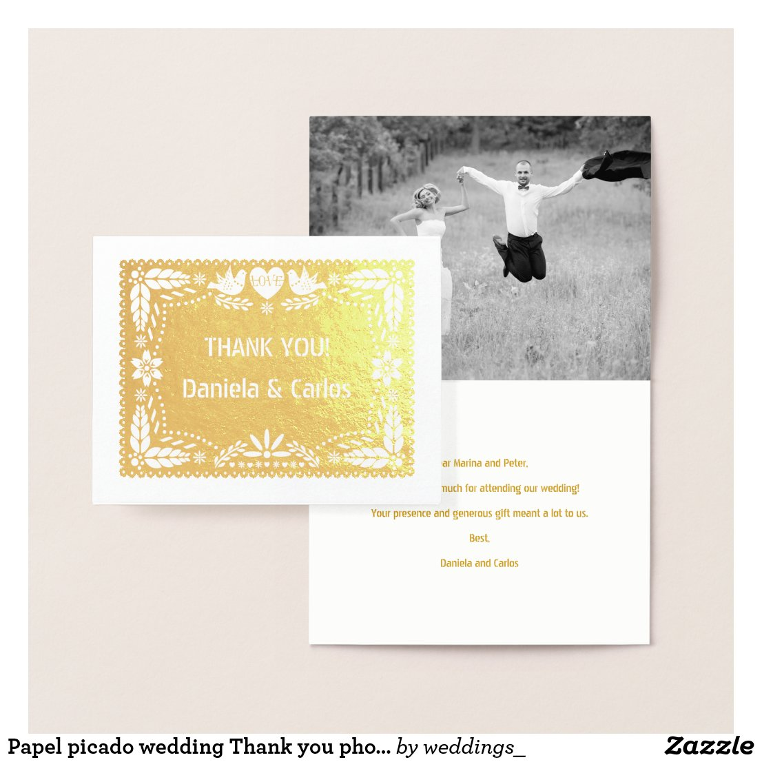 Papel picado wedding Thank you photo gold Foil Card