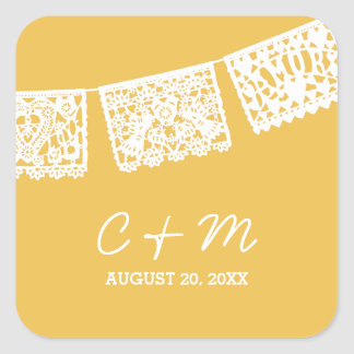 Papel Picado Yellow | Wedding Favor Sticker