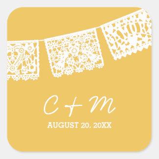Papel Picado Yellow | Wedding Favor Sticker
