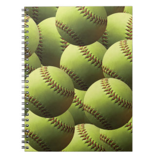 Papel pintado amarillo del softball cuadernos