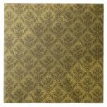 Papel pintado amarillo del vintage azulejos