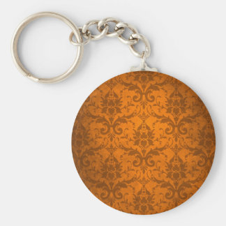 Papel pintado anaranjado del damasco del vintage llavero personalizado
