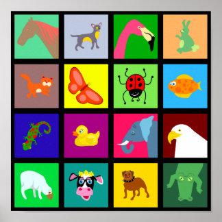 Papel pintado animal de la teja póster