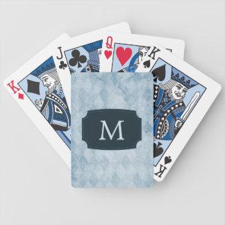 Papel pintado azul con monograma del diamante barajas de cartas