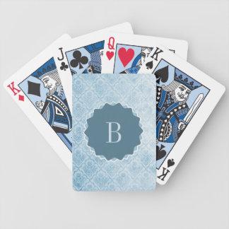 Papel pintado azul con monograma del vintage barajas de cartas