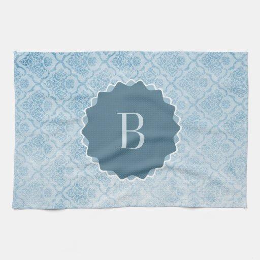 Papel pintado azul con monograma del vintage toallas de mano