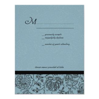 """Papel pintado azul de la flor que casa las invitación 4.25"""" x 5.5"""""""