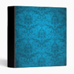 Papel pintado azul del damasco de la aguamarina de