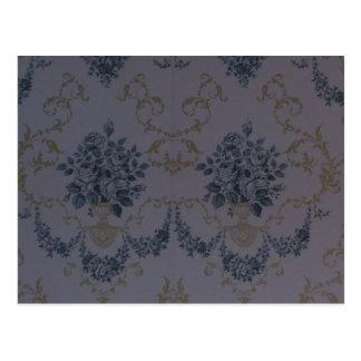 Papel pintado azul del vintage del damasco tarjetas postales