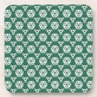 Papel pintado barroco verde irlandés del vintage posavasos