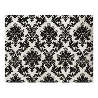 Papel pintado blanco y negro del damasco del tarjeta postal