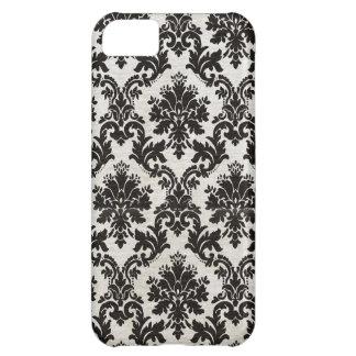 Papel pintado blanco y negro del damasco del vinta funda para iPhone 5C