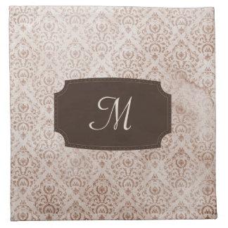 Papel pintado con monograma del vintage de Brown Servilletas Imprimidas