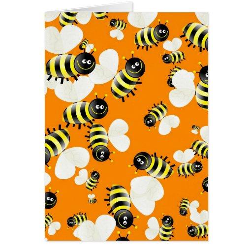 Papel pintado de la abeja tarjetón