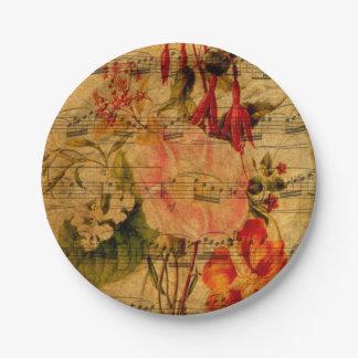 Papel pintado de la flor de la acuarela de la hoja platos de papel