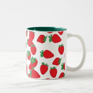 Papel pintado de la fresa taza de café de dos colores