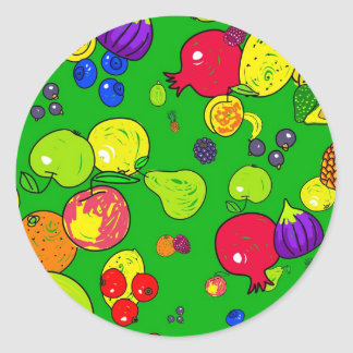 Papel pintado de la fruta pegatina redonda
