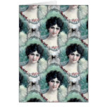 Papel pintado de la mujer del vintage felicitaciones