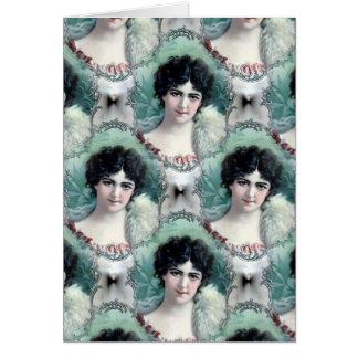 Papel pintado de la mujer del vintage tarjeta de felicitación