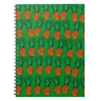 Papel pintado de la piña spiral notebooks