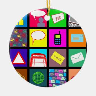 Papel pintado de la teja de la comunicación adorno navideño redondo de cerámica