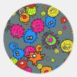 Papel pintado de las bacterias etiquetas redondas