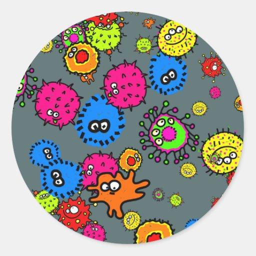 Papel pintado de las bacterias pegatina redonda   Zazzle