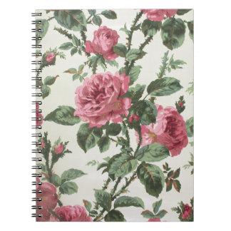 Papel pintado de los rosas que sube, 1900-1915 libro de apuntes con espiral