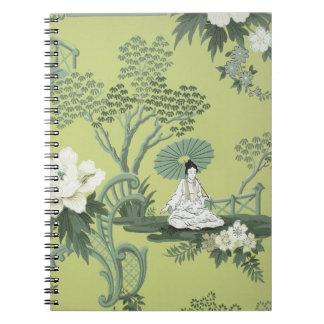 Papel pintado del Chinoiserie, 1950-1960 Spiral Notebook