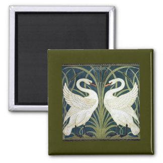 Papel pintado del cisne y de la precipitación y de imán de frigorífico