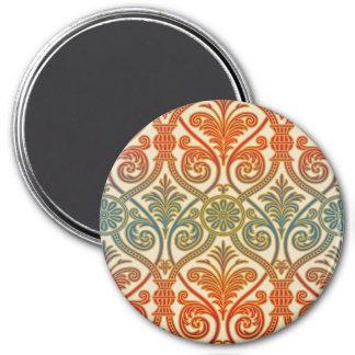Papel pintado del contorno del damasco del vintage imán redondo 7 cm