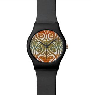 Papel pintado del contorno del damasco del vintage reloj