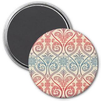 Papel pintado del damasco del vintage - rojo imán redondo 7 cm
