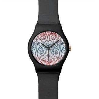 Papel pintado del damasco del vintage - rojo relojes