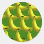 Papel pintado del plátano etiqueta redonda