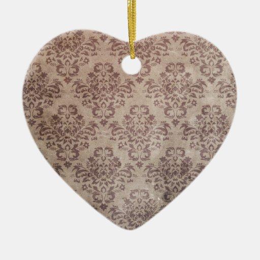 Papel pintado del vintage adorno navideño de cerámica en forma de corazón