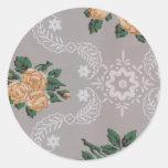 Papel pintado del vintage de los rosas del oro pegatinas redondas