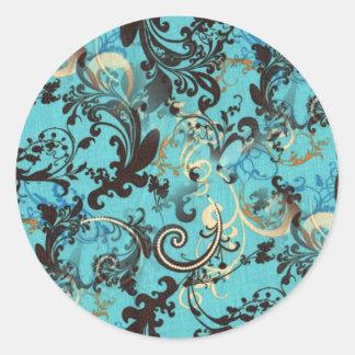 Papel pintado del vintage pegatina redonda